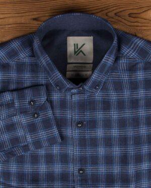 پیراهن پشمی چهارخانه اسپرت مردانه - آبی کاربنی - یقه مردانه