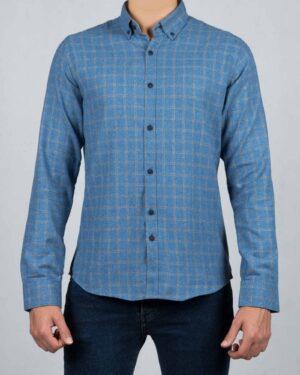پیراهن پشمی چهارخانه مردانه آستین بلند - آبی - رو به رو