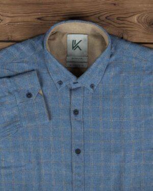 پیراهن پشمی چهارخانه مردانه آستین بلند - آبی - یقه مردانه