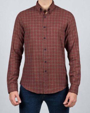 پیراهن پشمی چهارخانه مردانه آستین بلند - جگری - رو به رو