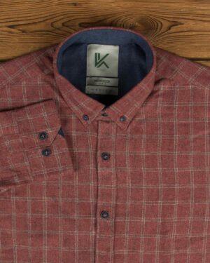 پیراهن پشمی چهارخانه مردانه آستین بلند - جگری - یقه مردانه