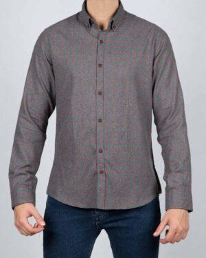 پیراهن پشمی چهارخانه مردانه آستین بلند - طوسی - رو به رو