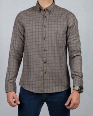 پیراهن پشمی چهارخانه مردانه آستین بلند - قهوه ای روشن - رو به رو