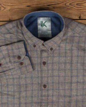 پیراهن پشمی چهارخانه مردانه آستین بلند - قهوه ای روشن - یقه مردانه