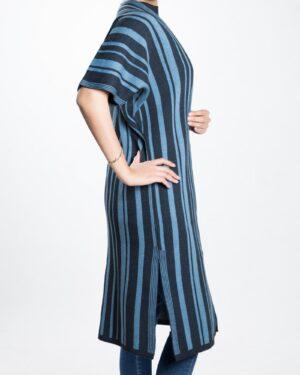ژاکت بافت بلند زنانه راه راه - آبی آسمانی - بغل