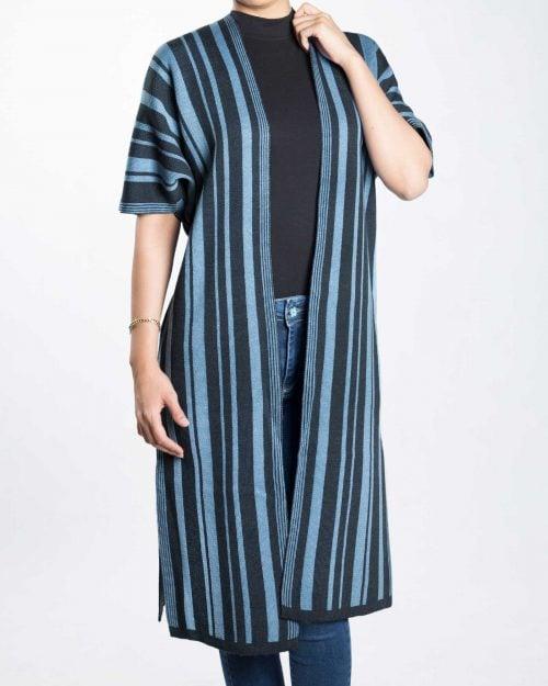 ژاکت بافت بلند زنانه راه راه - آبی آسمانی - رو به رو