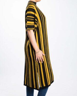 ژاکت بافت بلند زنانه راه راه - خردلی - بغل