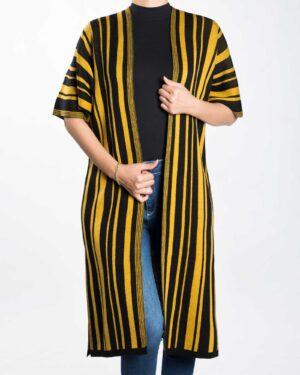 ژاکت بافت بلند زنانه راه راه - خردلی - رو به رو