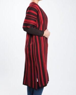 ژاکت بافت بلند زنانه راه راه - قرمز - بغل