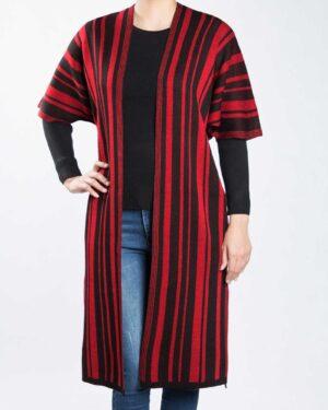 ژاکت بافت بلند زنانه راه راه - قرمز - رو به رو
