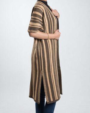 ژاکت بافت بلند زنانه راه راه - قهوه ای روشن - بغل