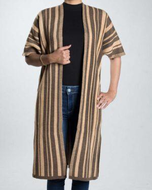 ژاکت بافت بلند زنانه راه راه - قهوه ای روشن - رو به رو