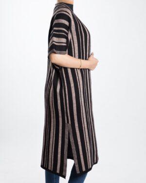 ژاکت بافت بلند زنانه راه راه - مشکی - بغل