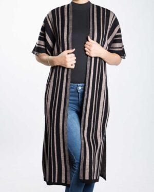 ژاکت بافت بلند زنانه راه راه - مشکی - رو به رو