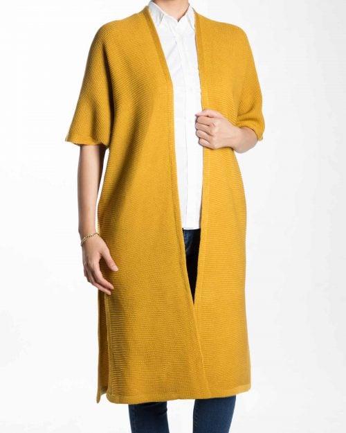 ژاکت بافت بلند ساده زنانه - خردلی - رو به رو