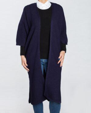 ژاکت بافت بلند ساده زنانه - سرمه ای- استایل رو به رو