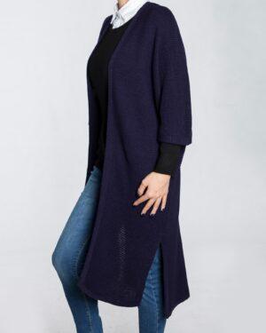 ژاکت بافت بلند ساده زنانه - سرمه ای - نیم رخ