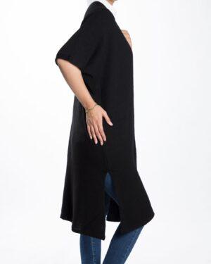 ژاکت بافت بلند ساده زنانه - مشکی - بغل