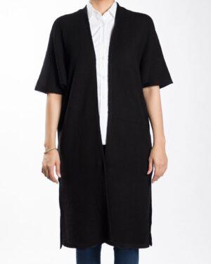 ژاکت بافت بلند ساده زنانه - مشکی - رو به رو