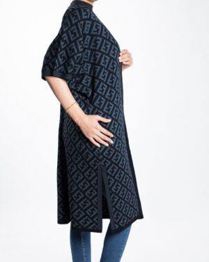 ژاکت بافت زنانه بلند طرح دار - آبی نفتی - بغل