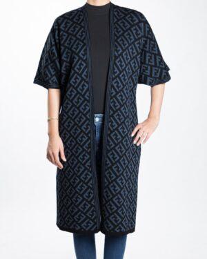ژاکت بافت زنانه بلند طرح دار - آبی نفتی - رو به رو