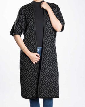 ژاکت بافت زنانه بلند طرح دار - خاکستری - رو به رو