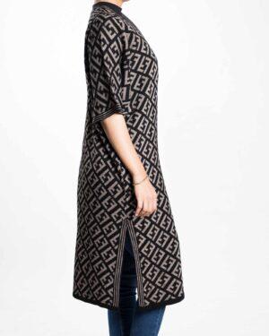 ژاکت بافت زنانه بلند طرح دار - مشکی - بغل