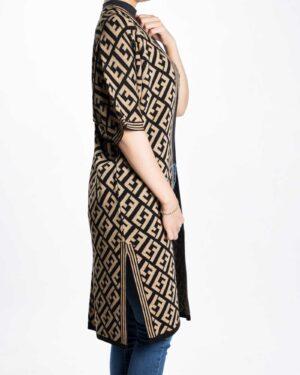 ژاکت بافت زنانه بلند طرح دار - کرمی سیر - بغل