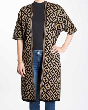 ژاکت بافت زنانه بلند طرح دار - کرمی سیر - رو به رو