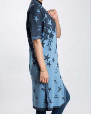 ژاکت بافت زنانه طرح ستاره - آبی آسمانی - بغل