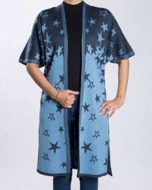 ژاکت بافت زنانه طرح ستاره - آبی آسمانی - رو به رو