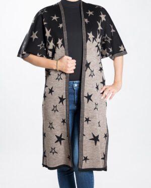 ژاکت بافت زنانه طرح ستاره - خاکستری - رو به رو