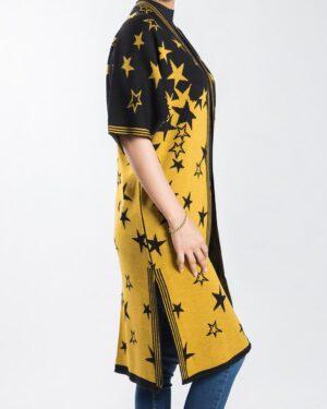 ژاکت بافت زنانه طرح ستاره - خردلی - بغل