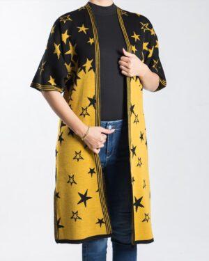 ژاکت بافت زنانه طرح ستاره - خردلی - رو به رو