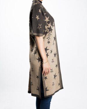 ژاکت بافت زنانه طرح ستاره - قهوه ای روشن - بغل