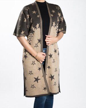 ژاکت بافت زنانه طرح ستاره - قهوه ای روشن - رو به رو