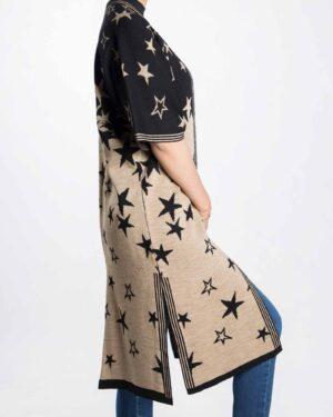 ژاکت بافت زنانه طرح ستاره - مشکی - بغل