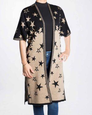 ژاکت بافت زنانه طرح ستاره - مشکی - رو به رو