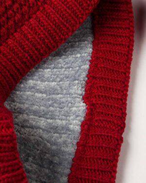 کلاه و شال گردن رینگی بافت راه راه رنگی - طوسی کمرنگ - شال رینگی