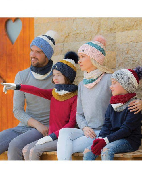 کلاه و شال گردن رینگی بافت راه راه رنگی - محیطی زنانه و مردانه