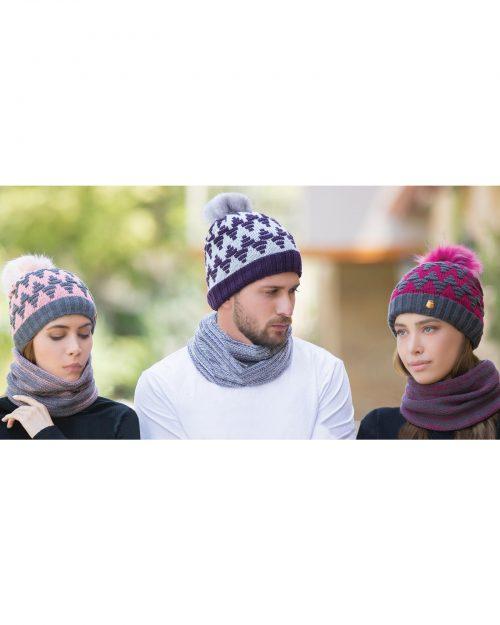 کلاه و شال گردن رینگی بافت طرح دار - محیطی