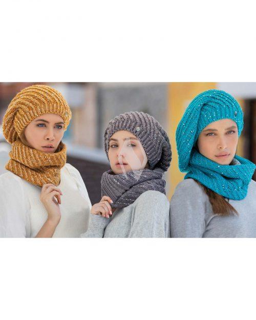 کلاه و شال گردن رینگی بافت پولک دار - محیطی - زنانه