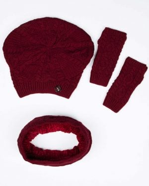 کلاه و شال گردن رینگی و دستکش بافت ساده - زرشکی - بالا