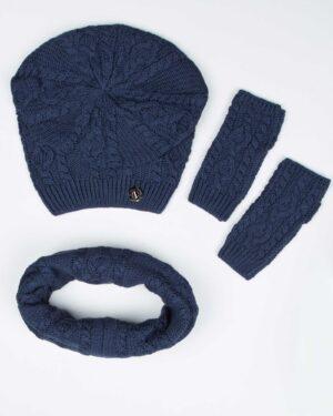 کلاه و شال گردن رینگی و دستکش بافت ساده - سرمه ای - بالا