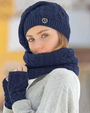 کلاه و شال گردن رینگی و دستکش بافت ساده - سرمه ای - زنانه