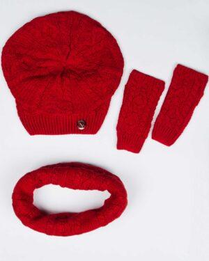 کلاه و شال گردن رینگی و دستکش بافت ساده - قرمز - رو به رو