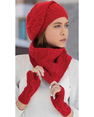 کلاه و شال گردن رینگی و دستکش بافت ساده - قرمز - محیطی زنانه