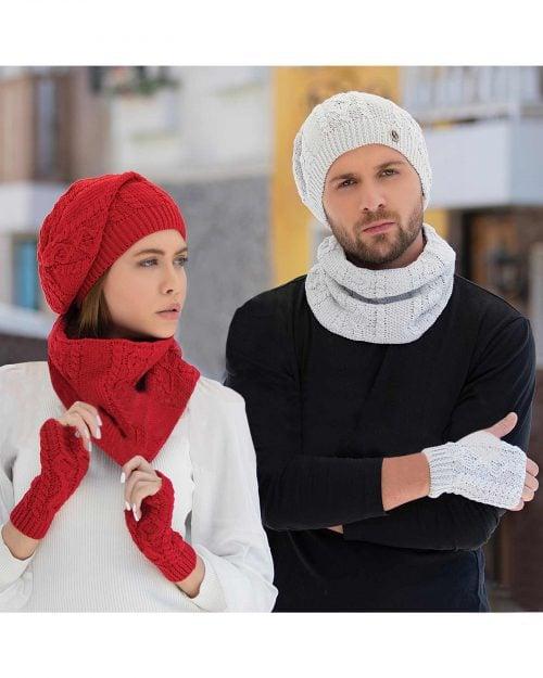 کلاه و شال گردن رینگی و دستکش بافت ساده - محیطی