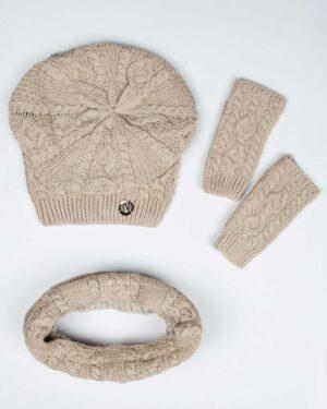 کلاه و شال گردن رینگی و دستکش بافت ساده - کرمی سیر - بالا