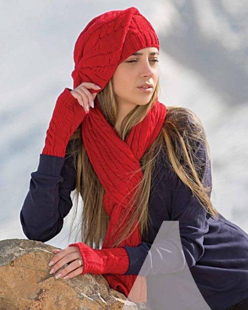 کلاه کج و شال گردن و دست پوش بافت - قرمز - زنانه
